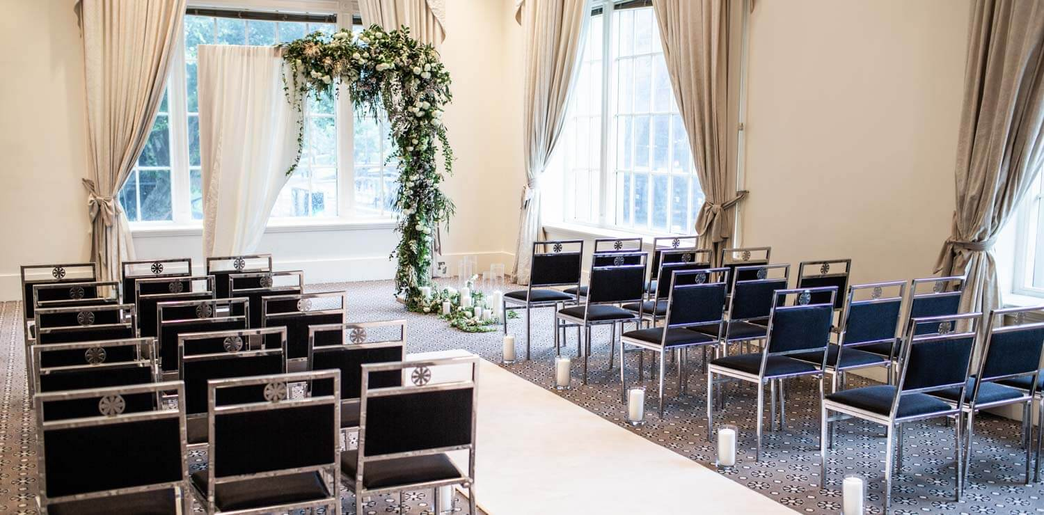 wedding-room-setup-for-ceremony-with-chairs-and-flower-alter | The Savoy Hotel on Little Collins