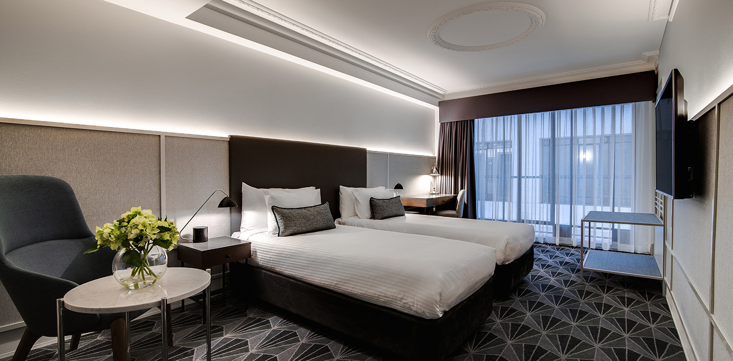 the-savoy-hotel-on-little-collins-melbourne-guest-room-bedroom-twin-01-2018 | The Savoy Hotel on Little Collins